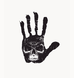 hand-drawn banner with handprint and human skull vector image