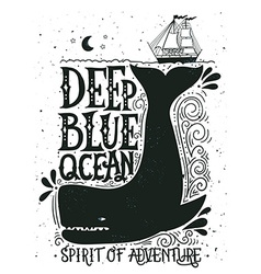 Hand drawn nautical vintage label with a whale vector