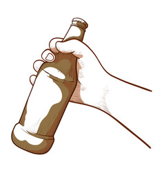 hand holding a glass bottle alcoholic drink vector image