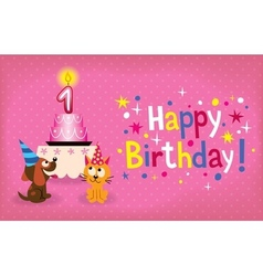 Happy First Birthday card vector