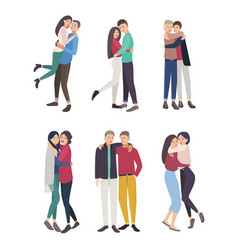 Happy friends hug set guys and girls cuddling vector