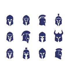 Helmets set spartan greek and roman gladiator vector