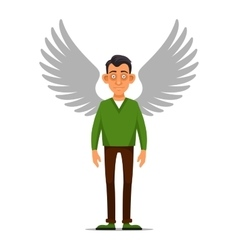 Hipster Businessman with Wings Angel in flat vector