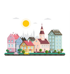 houses in city flat design architecture buildings vector image
