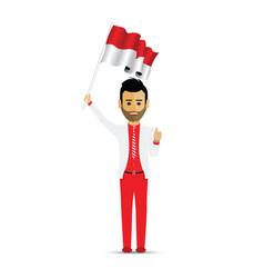 Indonesia flag waving man vector