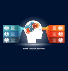 infographic with gears in men head and colorfull vector image