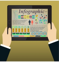 Infographics on the Tablet PC Hands vector image