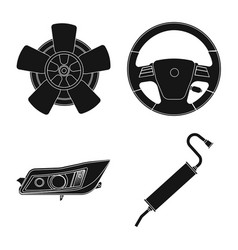 isolated object of auto and part logo collection vector image
