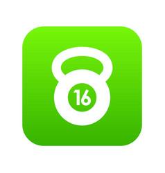 kettlebell icon digital green vector image