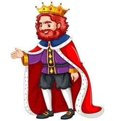 King in purple costume and red robe vector