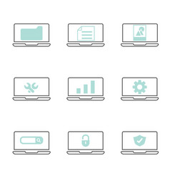 laptop with system icons vector image