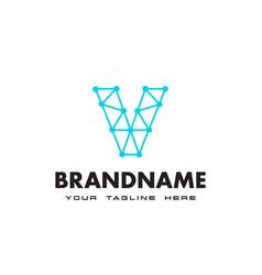 letter v dot network connection logo design vector image