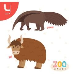 Letter Y Cute animals Funny cartoon animals in vector image