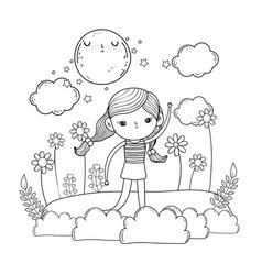 Little girl in the garden on the night vector