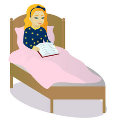little girl read book in bed vector image