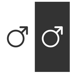 male symbol on a black and white background vector image