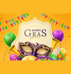 Mask carnival at mardi gras invitation flyer vector