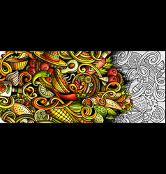 mexican food hand drawn doodle banner cartoon vector image