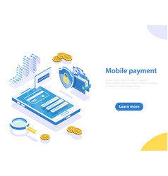 Mobile payment flat isometric concept vector