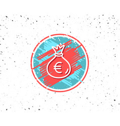 money bag line icon cash banking currency vector image