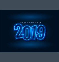neon style 2019 new year background vector image