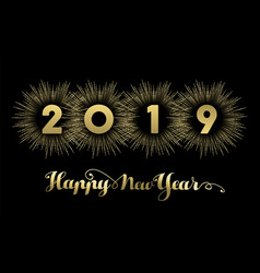 new year 2019 gold banner firework greeting card vector image