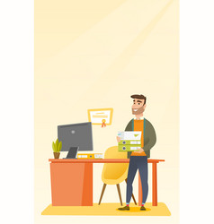 Office worker holding pile of folders vector