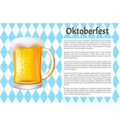 oktoberfest poster big glass mug of craft beer vector image