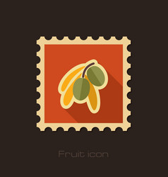 Olive flat stamp tropical fruit vector