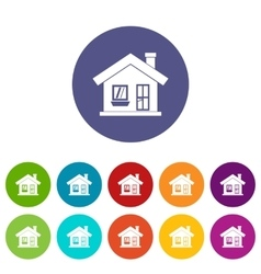 One-storey house with a chimney set icons vector