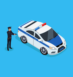 Police officer standing near patrol car color card vector