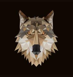 polygonal wolf head vector image