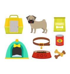 pug dog playing elements set vector image