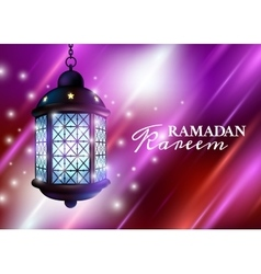 Ramadan Lantern or Fanous with Lights and Ramadan vector image