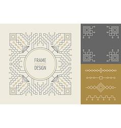 retro vintage set line monogram frame design vector image
