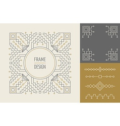 Retro vintage set of line monogram frame design vector