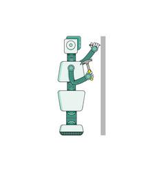 Robot housekeeper hammers nail into wall - cartoon vector