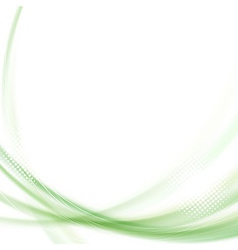 Satin green swoosh line background vector