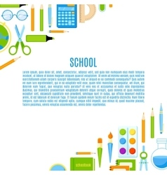School baner with supplies design vector