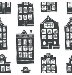 seamless pattern with outline scandinavian houses vector image