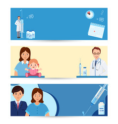 Set banner kids vaccination mother and child vector