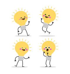 Set cartoon images funny yellow light bulbs vector