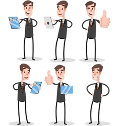 Set Flat Businessman With Tablet vector image