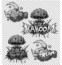 set monochrome comics icons vector image