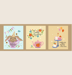 set postcards with birthday concept graphics vector image