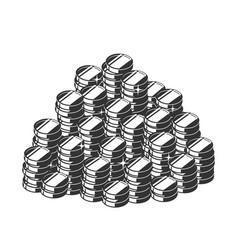 Silhouette a heap coins a pile treasure vector