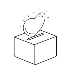 Silhouette flat heart depositing in a carton box vector
