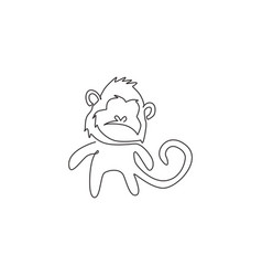 single continuous line drawing cute walking vector image