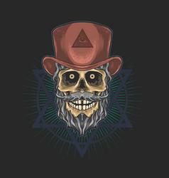 skull with hat freemasonry gra vector image