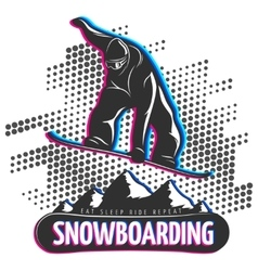 Snowbord black print vector image